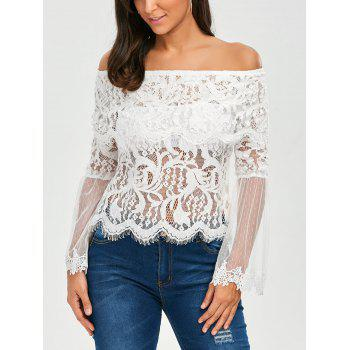 Flare Sleeve Lace Mesh Panel Blouse