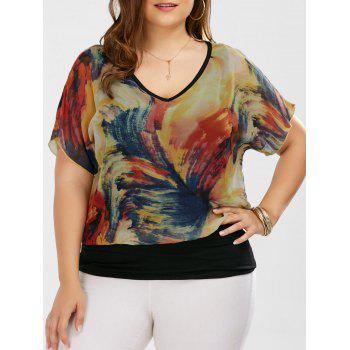 Plus Size V Neck Tie Dye Ringer Blouse