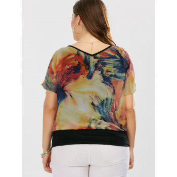 Plus Size V Neck Tie Dye Ringer Blouse - 5XL 5XL