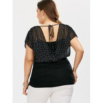 Plus Size Polka Dot Ruched Surplice T-Shirt - BLACK 3XL