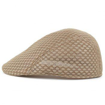 Breathable Hollow Out Mesh Newsboy Hat - KHAKI