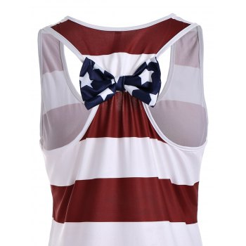 Stars and Stripes Racerback Tank Dress - DEEP RED 2XL