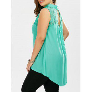 Lace Hollow Out Plus Size Chiffon Sleeveless Shirt