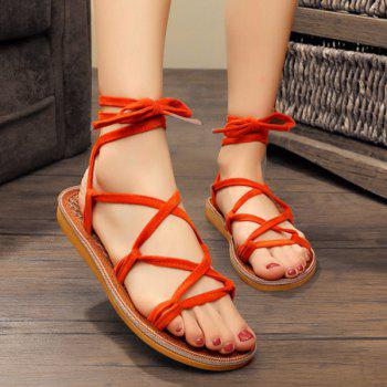 Cross Strap Lace Up Sandals