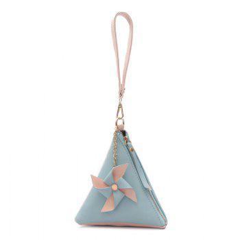Color Blocking Triangle Shaped Wristlet - BLUE BLUE