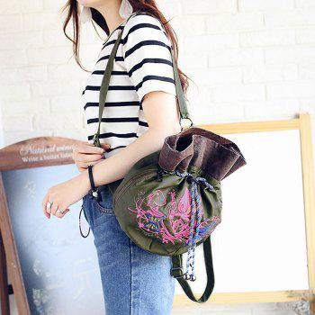 Drawstring Embroidery Color Block Backpack