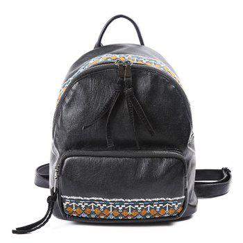 Tribal Embroidery PU Leather Backpack
