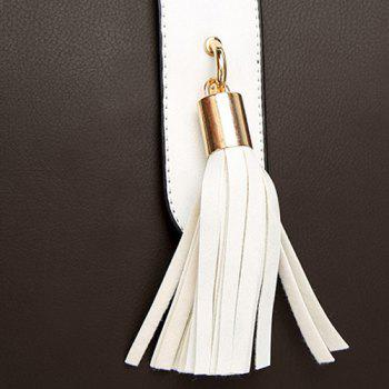 Two Tone PU Leather Tassel Totes - Blanc