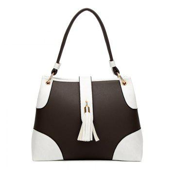 Two Tone PU Leather Tassel Totes