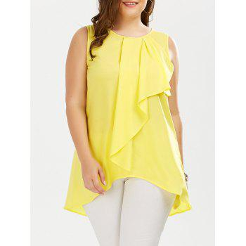 Plus Size Ruffle Front Sleeveless Blouse