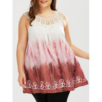 Plus Size Crochet Trim Tie Dye Top