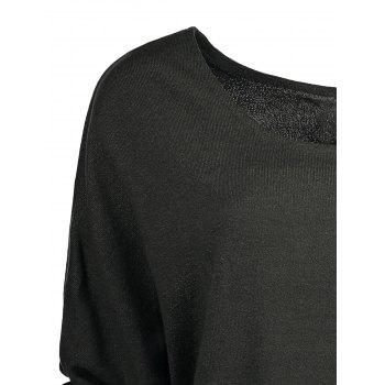 Women's Scoop Neck Asymmetrical Long Sleeve Sweater - DEEP GRAY XL