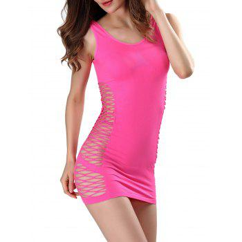 Criss-Cross Cut Out Bodycon Tank Dress - ROSE MADDER ONE SIZE