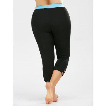 Plus Size Two Tone Cropped Workout Leggings - BLACK 3XL