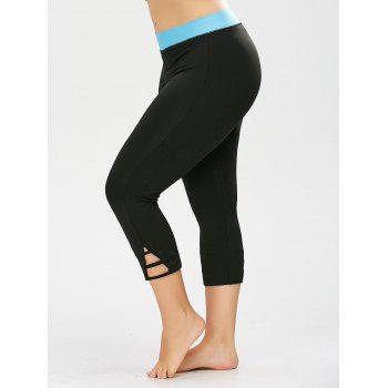 Plus Size Two Tone Cropped Workout Leggings - BLACK BLACK