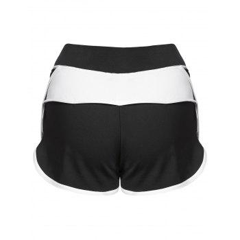 Color Block Mini Gym Shorts - WHITE L
