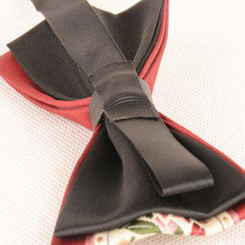 Flowers Embroidered Retro Bow Tie - WINE RED
