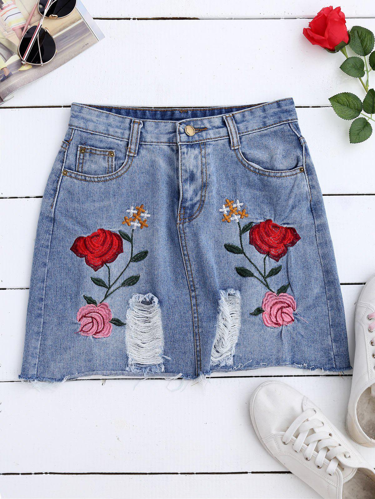 A Line Rose Embroidered Ripped Jean Skirt - DENIM BLUE M