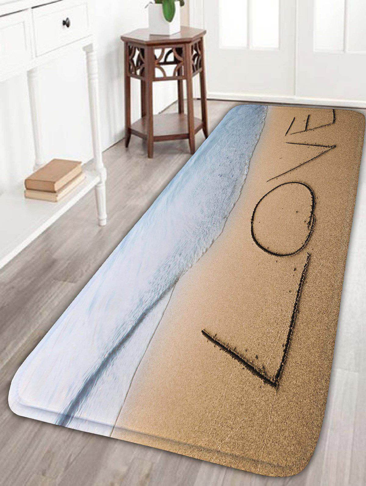 Love Sea Beach Print Skidproof Flannel Bathroom Rug skidproof flannel bathroom rug with nightfall surfing print