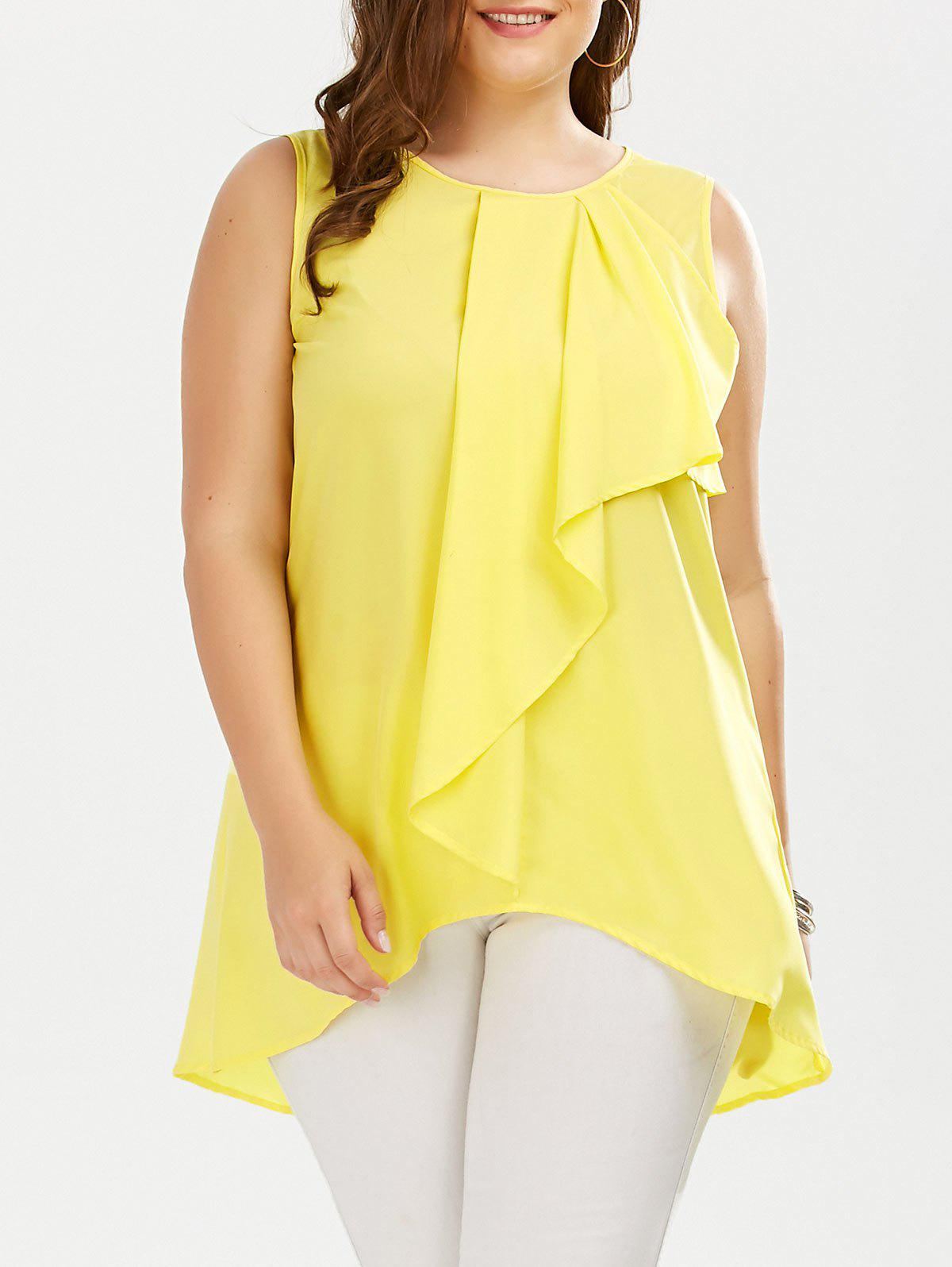 Plus Size Ruffle Front Sleeveless Blouse, YELLOW, XL in Plus Size ...