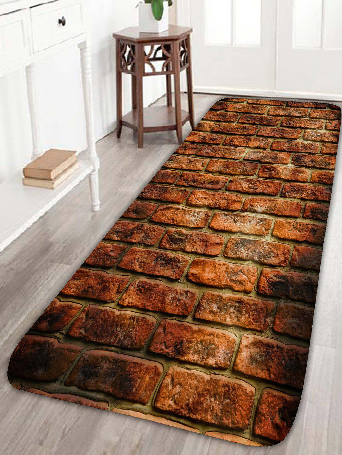 Red Brick Print Flannel Water Absorption Skidproof Rug