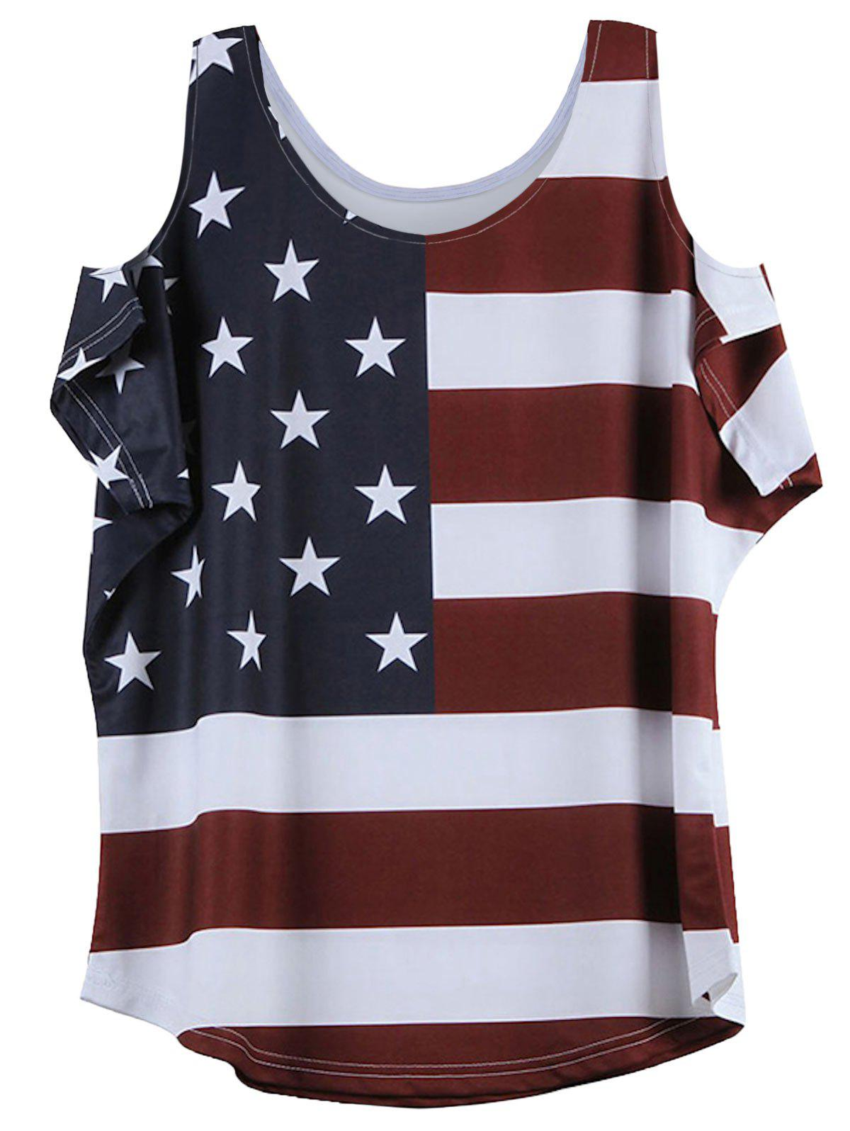 American Flag Print Cold Shoulder T-Shirt - WINE RED 2XL
