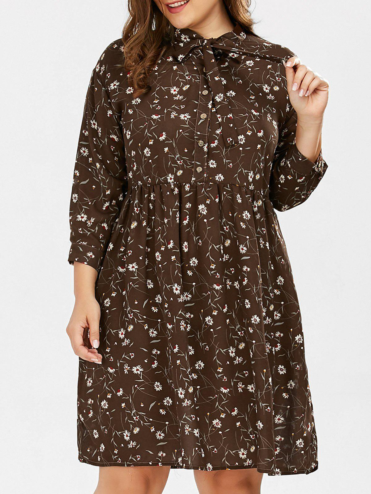 Plus Size Daisy Floral Button Down Pussy Bow Shirt Dress down daisy street