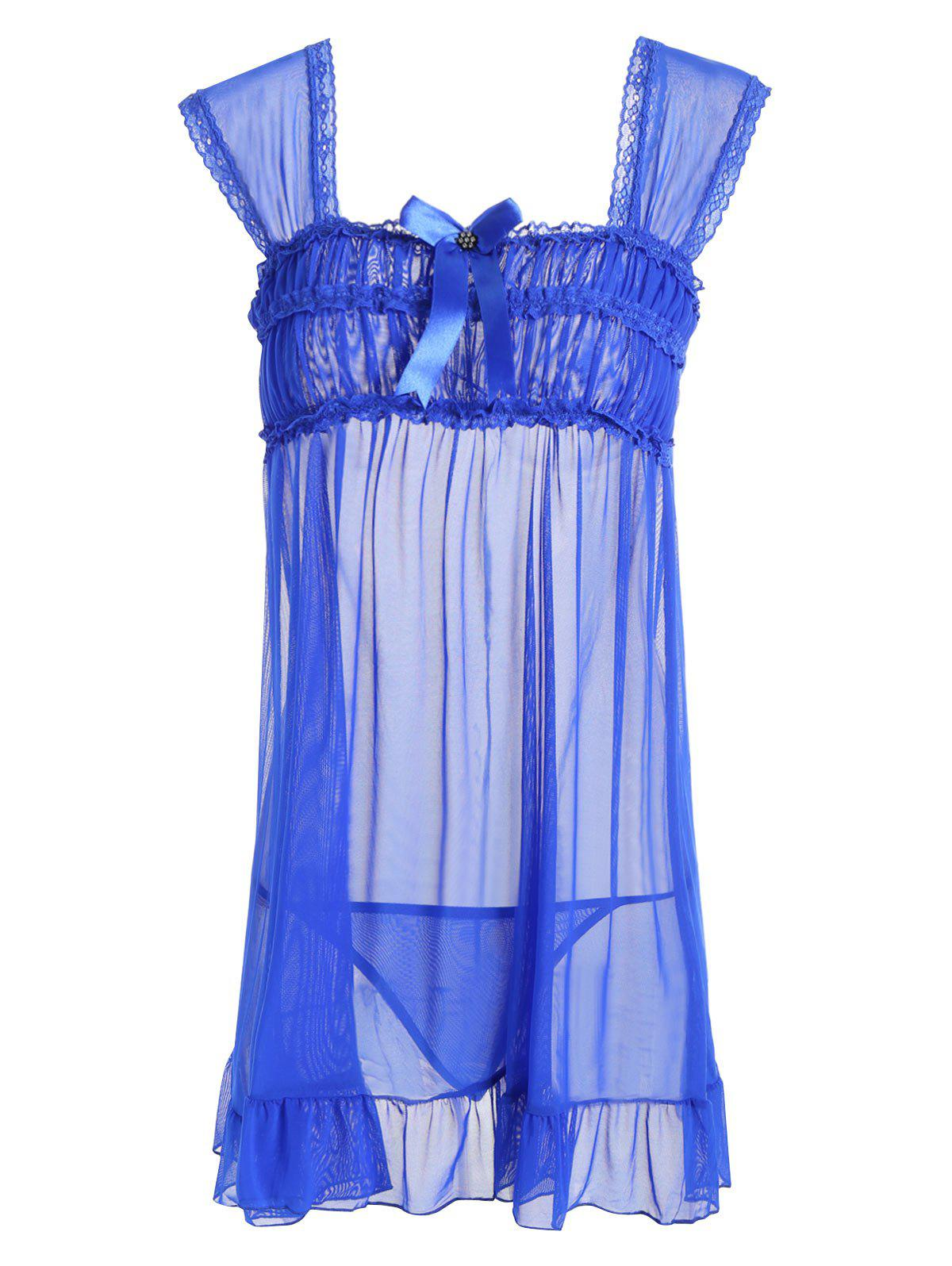 Mesh Sheer Flounce Intimate Babydoll - Bleu ONE SIZE
