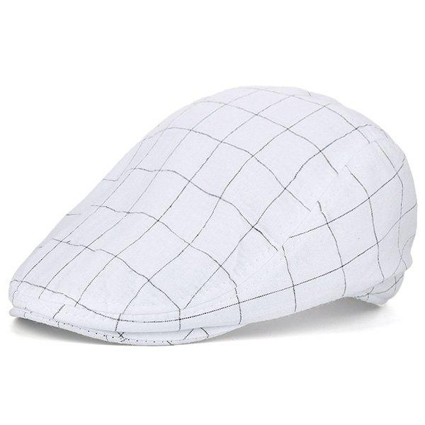 Retro Outdoor Checked Newsboy Hat - WHITE