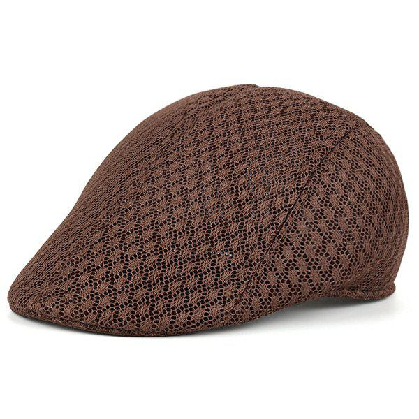 Breathable Hollow Out Mesh Newsboy Hat - COFFEE