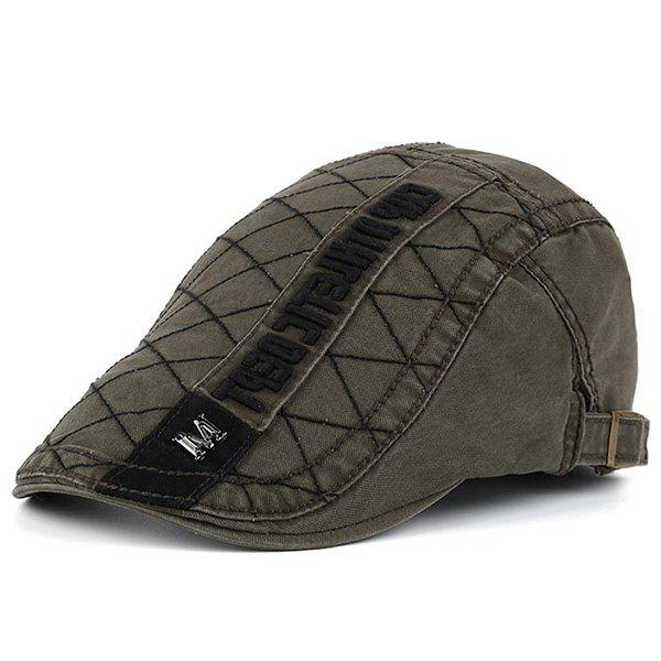 Rhombic Plaid Letters Embellished Flat Hat - ARMY GREEN