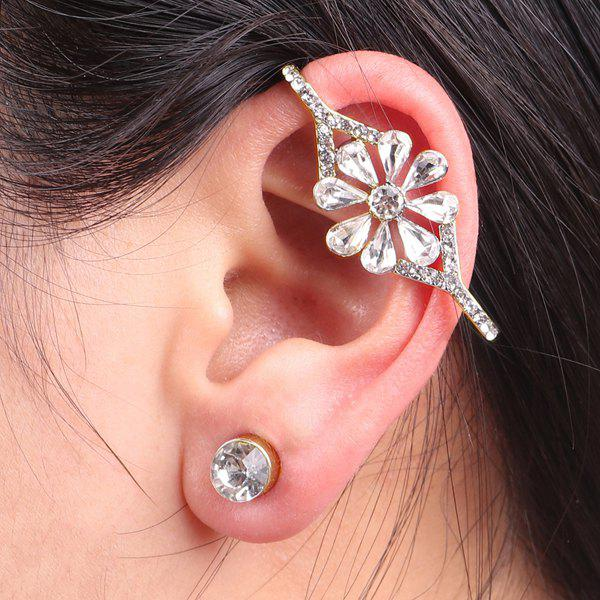 Rhinestoned Flower Ear Cuff and Stud Earring - GOLDEN