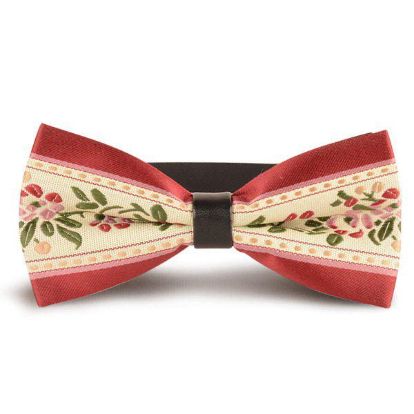 Flowers Embroidered Retro Bow Tie flowers embroidered retro bow tie