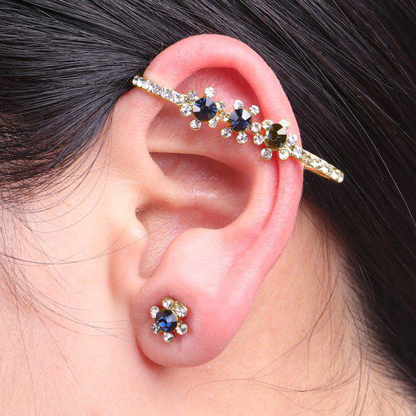 Rhinestoned Floral Ear Cuff and Stud Earring - GOLDEN