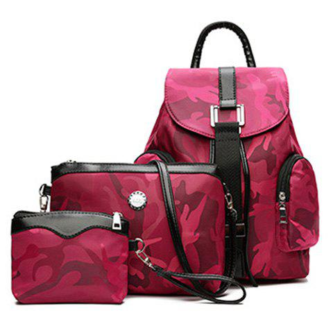 Canva Drawstring Camo Pattern Backpack Set - ROSE RED