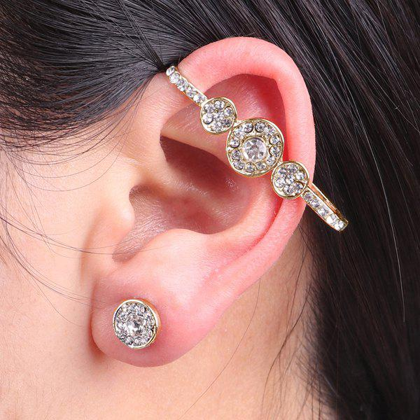 Rhinestoned Round Ear Cuff and Stud Earring - GOLDEN