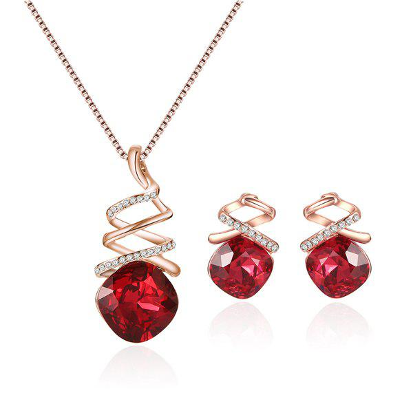 Rhinestone Faux Ruby Pendant Jewelry Set rhinestone geometric y shaped pendant jewelry set