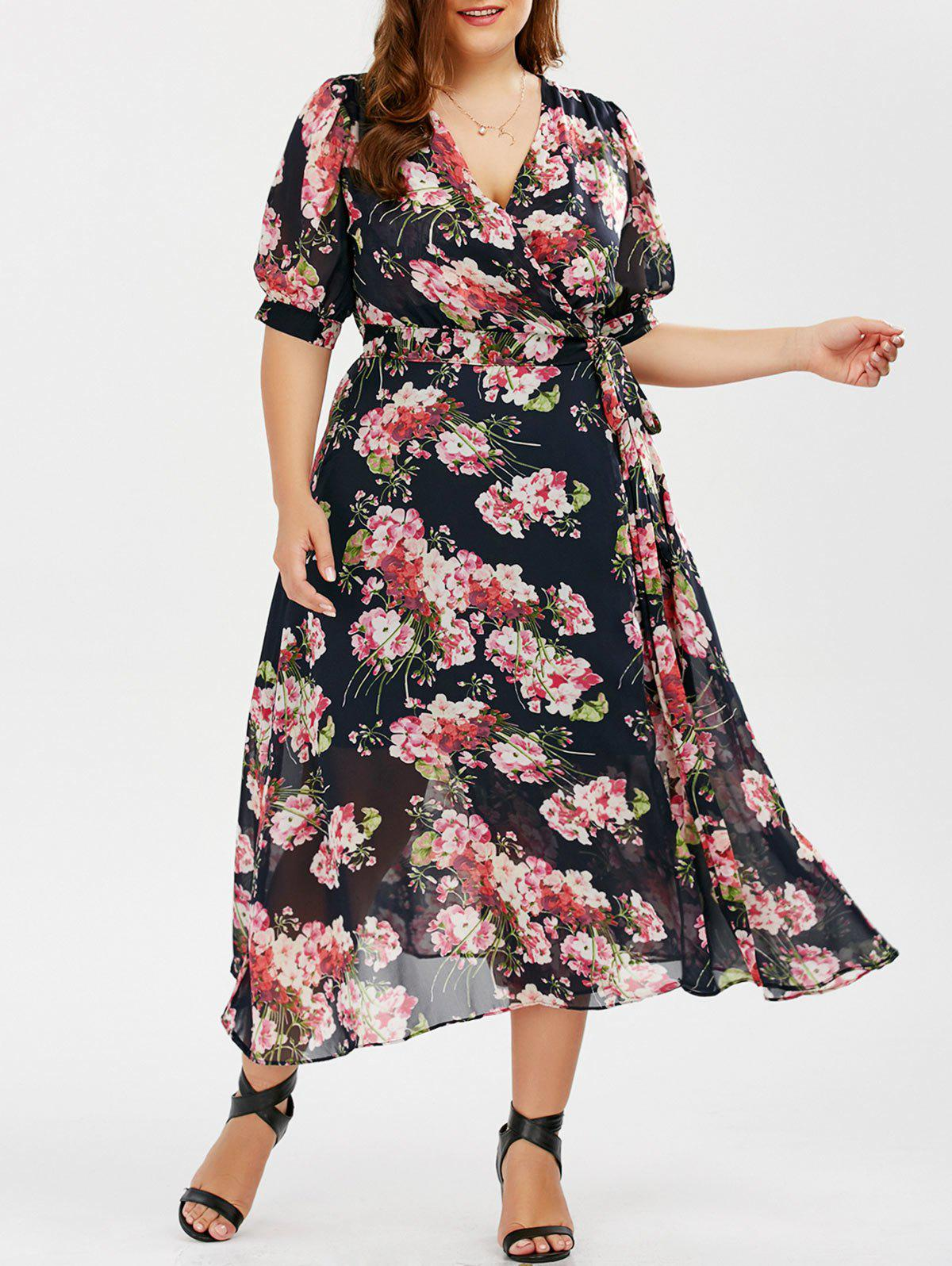 plus size floral maxi wrap dress, colormix, xl in plus size