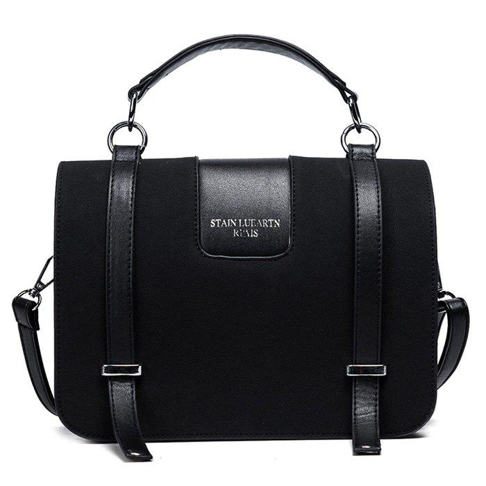 Twin Straps Suede Flap Tote Bag - BLACK