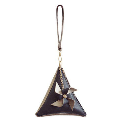 Color Blocking Triangle Shaped Wristlet - BLACK