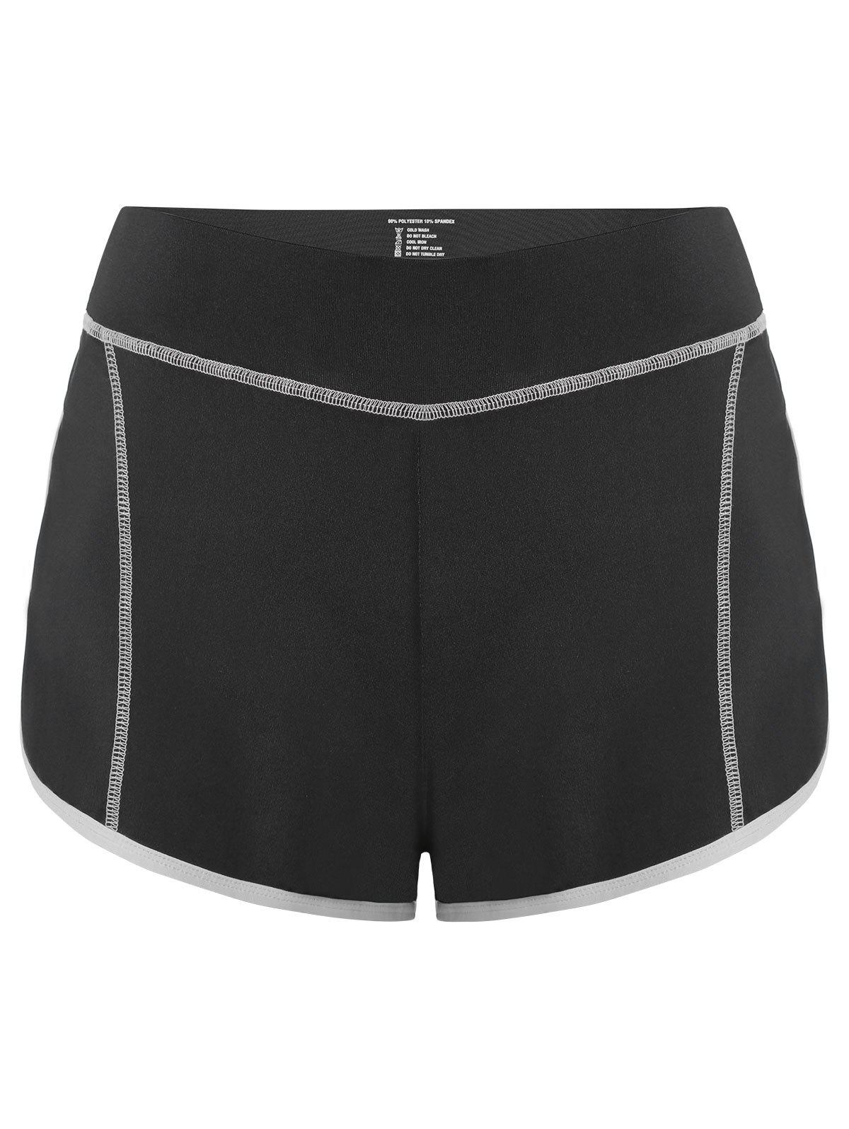 Color Block Mini Gym Shorts - GRAY L