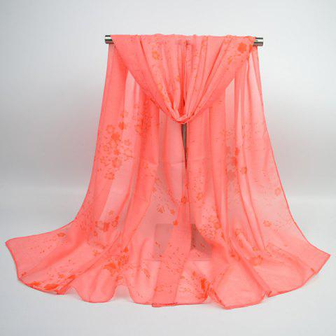Gossamer Tiny Flowers Printing Chiffon Shawl Scarf - WATERMELON RED