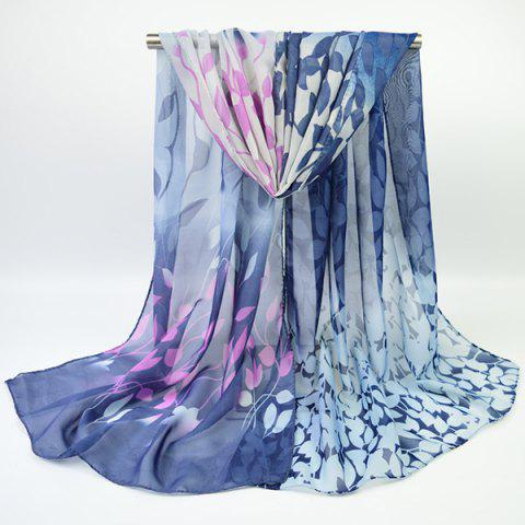 Gradient Color Chiffon Floral Printed Scarf - DEEP BLUE