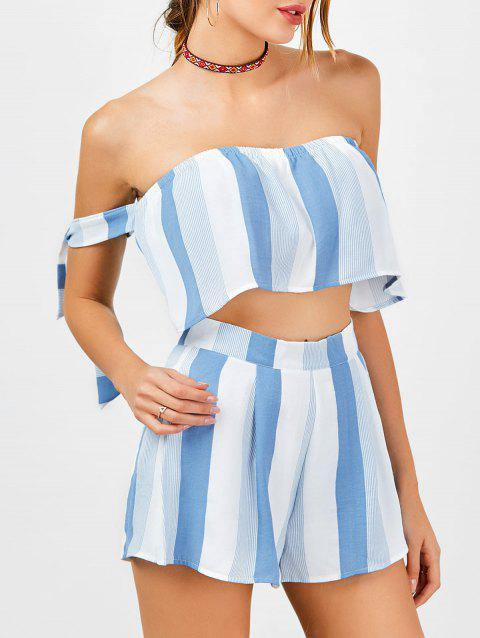 Strapless Stripe Crop Top and High Waisted Shorts - BLUE/WHITE S