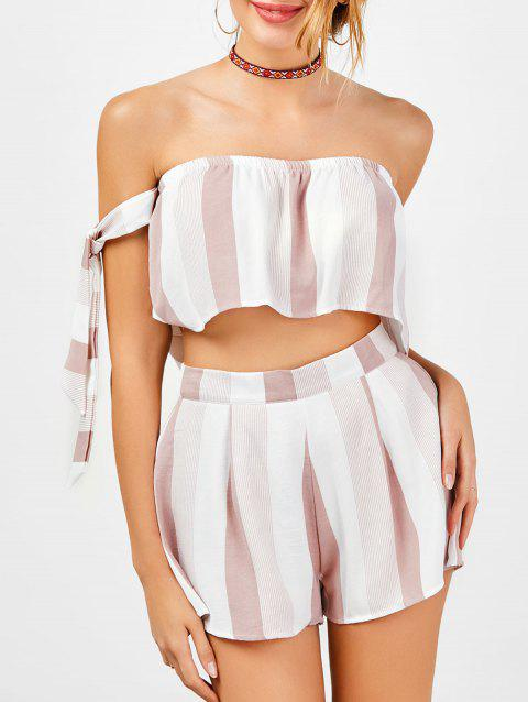 Strapless Stripe Crop Top and High Waisted Shorts - RED/WHITE L