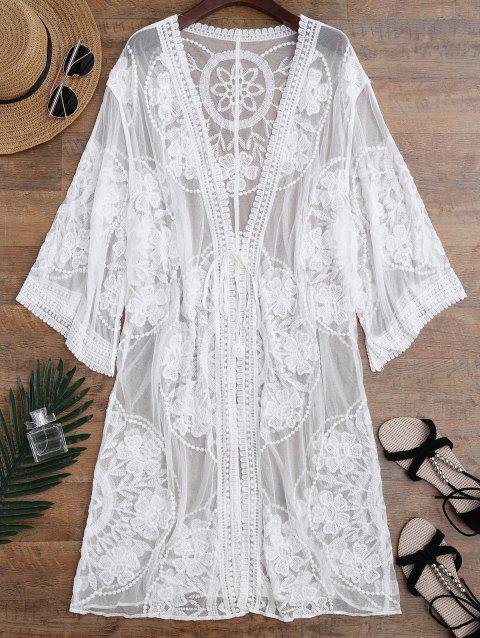 Embroidered Sheer Kimono Cover Up - WHITE ONE SIZE
