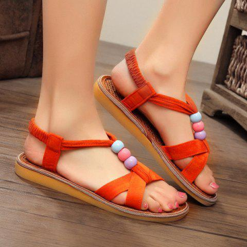 T Bar Beads Flat Heel Sandals - JACINTH 38