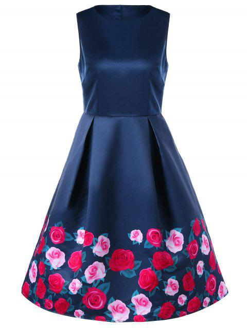 Sleeveless Floral 50s Dress - PURPLISH BLUE M