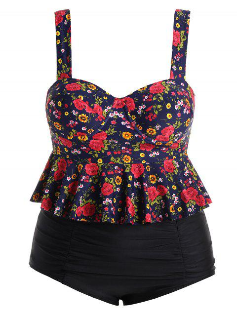 Floral Plus Size High Waisted Push Up Tankini Swimsuit - COLORMIX 2XL