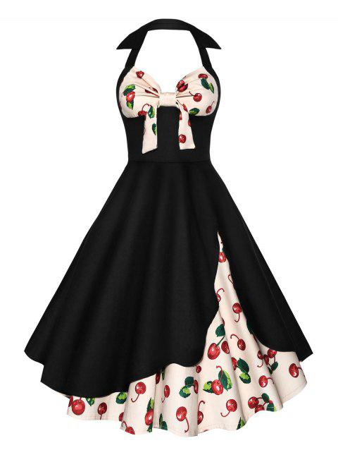 Halter Cherry Print Vintage Skater Dress - Noir S